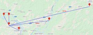 Radio communication map R4NAF VHF Field Day 2018